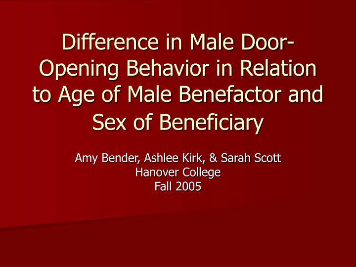 Difference in Male Door-Opening Behavior in Relation to Age of Male Benefactor and Sex of Beneficiar...