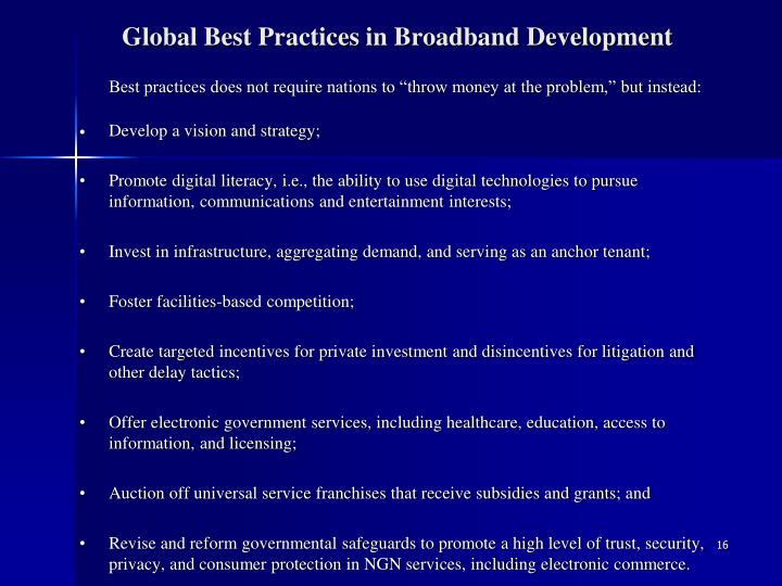Global Best Practices in Broadband Development