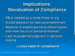 implications devaluation of compliance