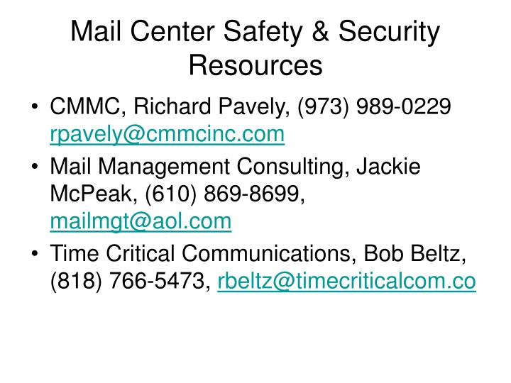 Mail Center Safety & Security Resources
