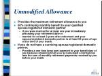 unmodified allowance