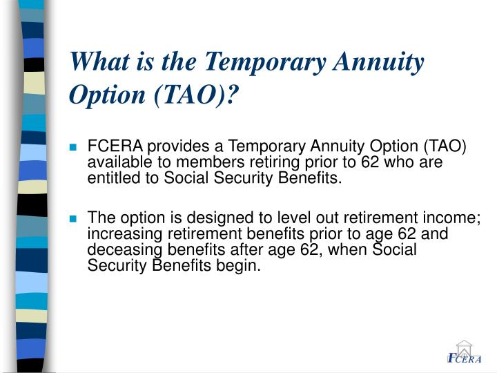 What is the Temporary Annuity Option (TAO)?