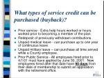 what types of service credit can be purchased buyback