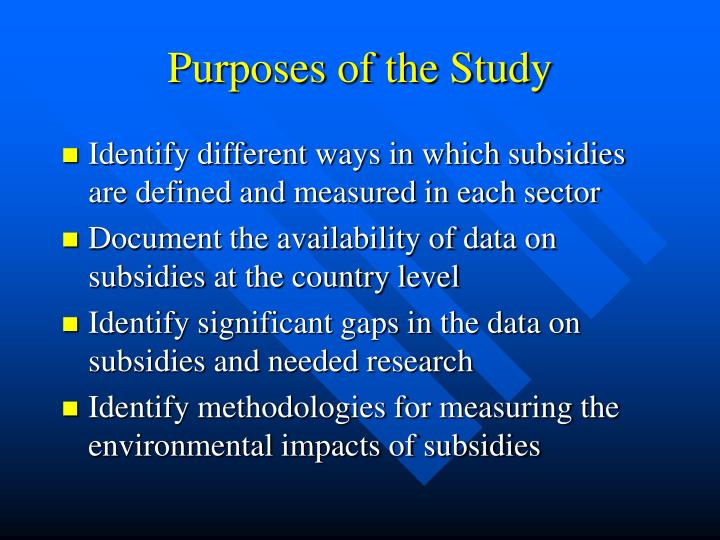 Purposes of the study
