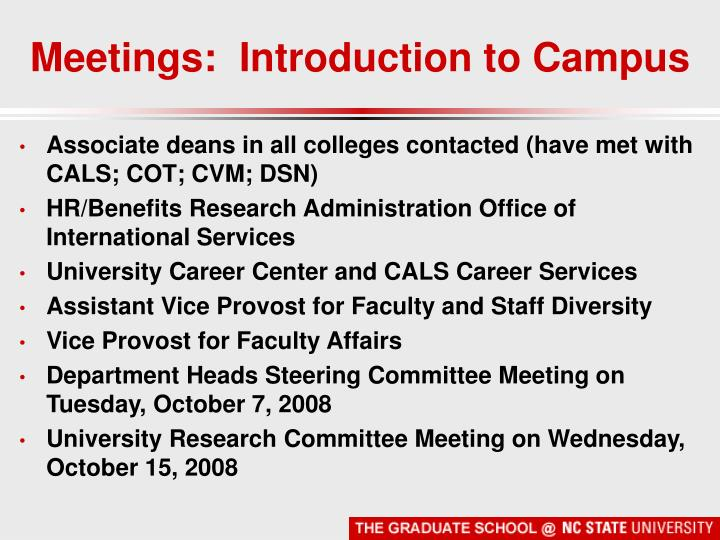 Meetings:  Introduction to Campus
