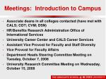 meetings introduction to campus
