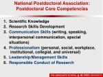 national postdoctoral association postdoctoral core competencies