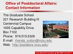 office of postdoctoral affairs contact information