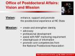 office of postdoctoral affairs vision and mission
