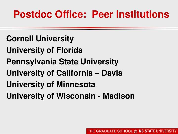 Postdoc Office:  Peer Institutions