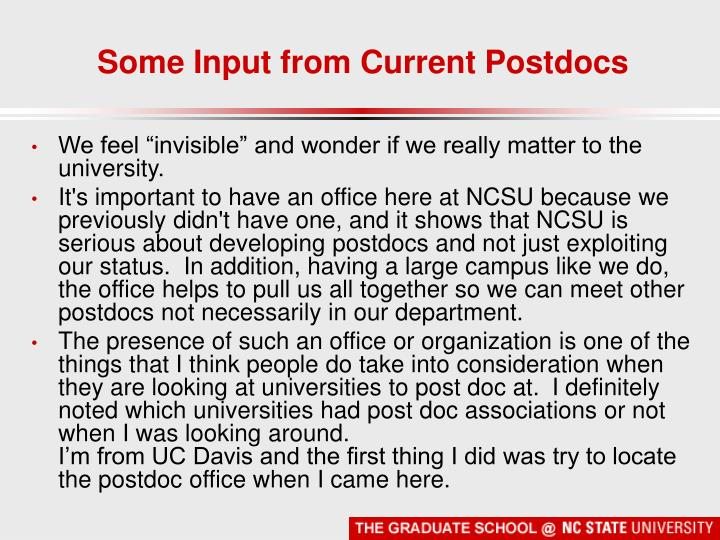 Some Input from Current Postdocs