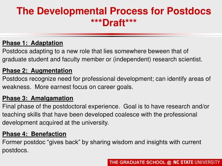 The Developmental Process for Postdocs