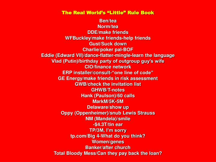 """The Real World's """"Little"""" Rule Book"""