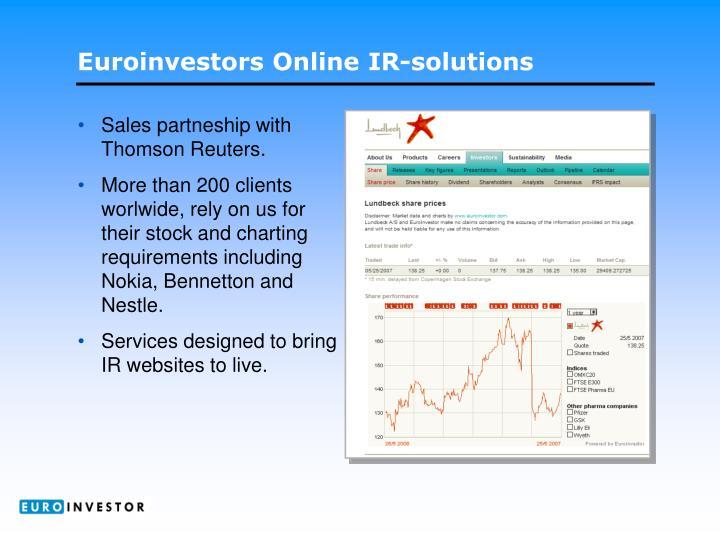 Sales partneship with Thomson Reuters.