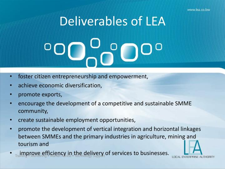 Deliverables of LEA
