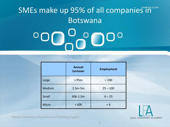 SMEs make up 95% of all companies in Botswana