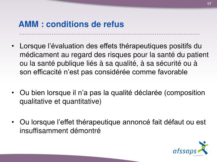 AMM : conditions de refus