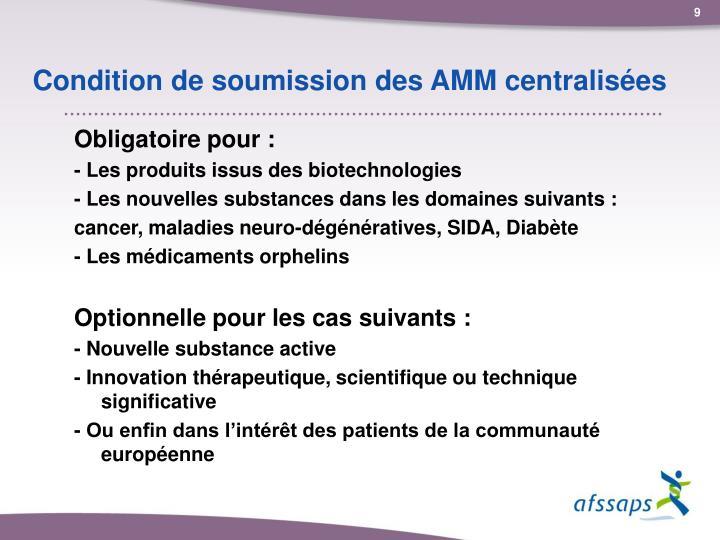 Condition de soumission des AMM centralisées