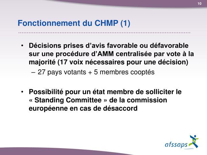 Fonctionnement du CHMP (1)
