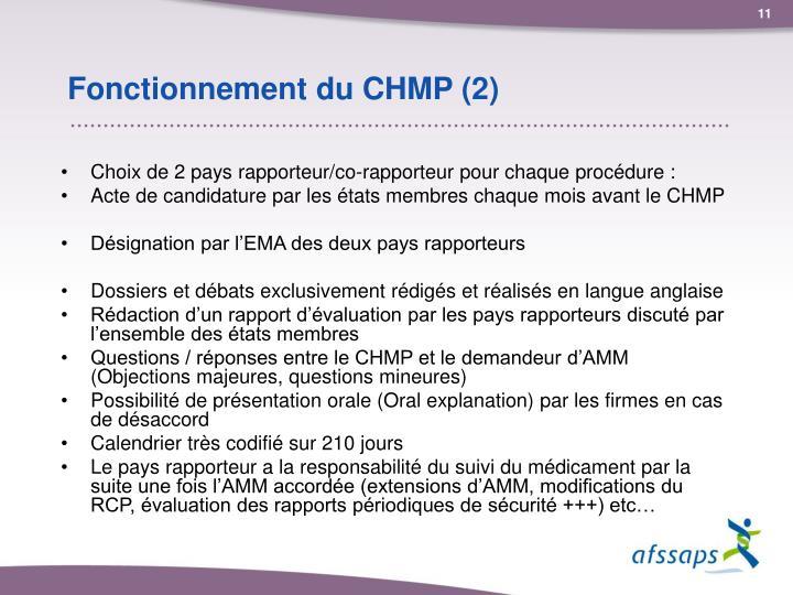 Fonctionnement du CHMP (2)