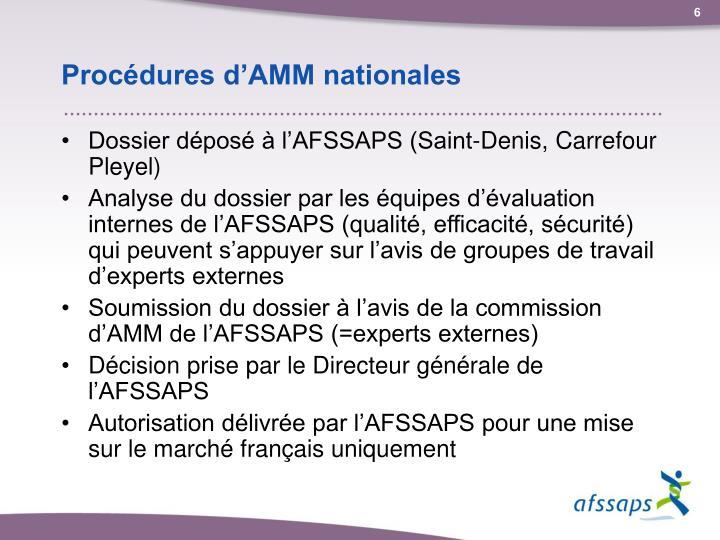 Procédures d'AMM nationales
