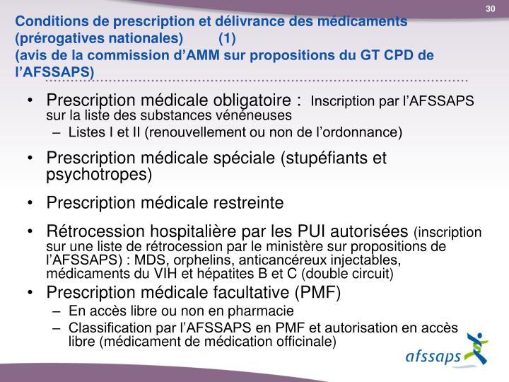 Conditions de prescription et délivrance des médicaments