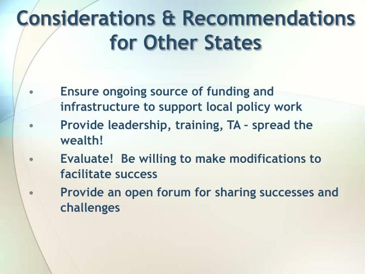 Considerations & Recommendations for Other States