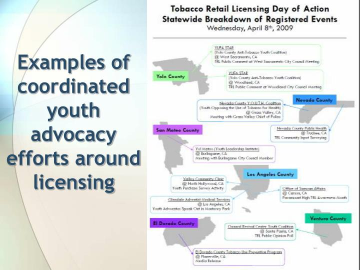 Examples of coordinated youth advocacy efforts around licensing