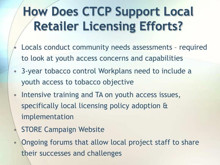 How Does CTCP Support Local Retailer Licensing Efforts?