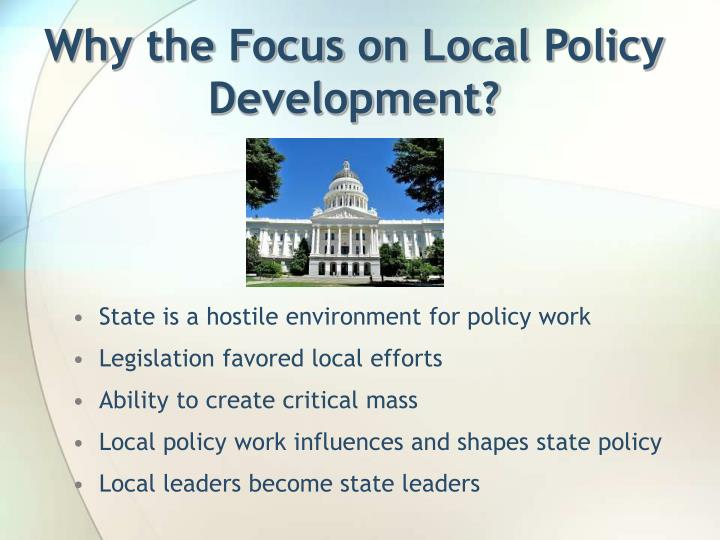 Why the Focus on Local Policy Development?