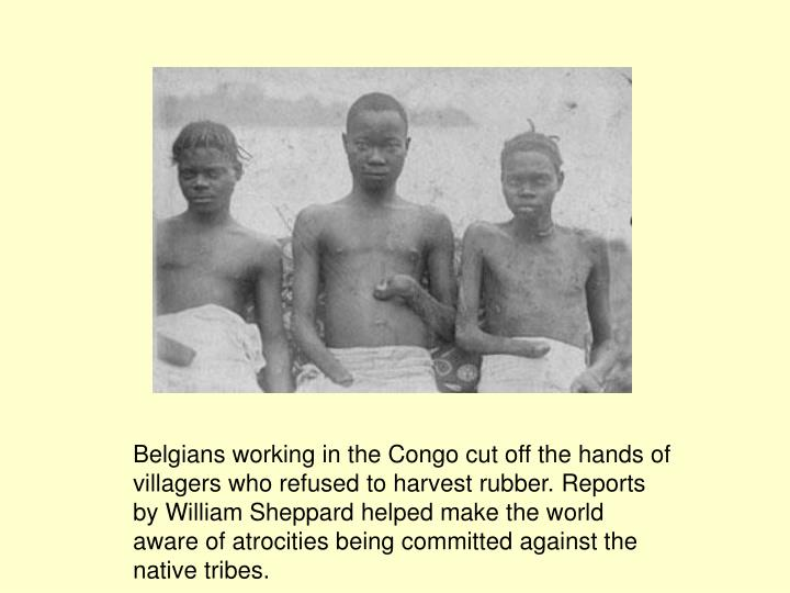 Belgians working in the Congo cut off the hands of villagers who refused to harvest rubber. Reports by William Sheppard helped make the world aware of atrocities being committed against the native tribes.