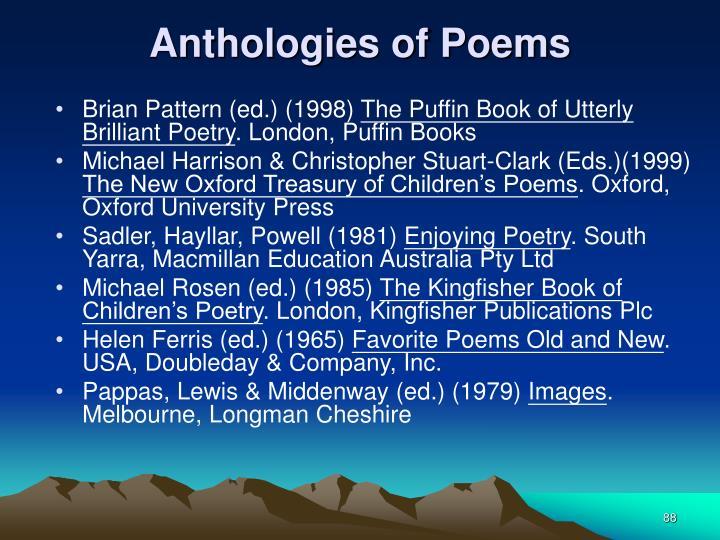 Anthologies of Poems