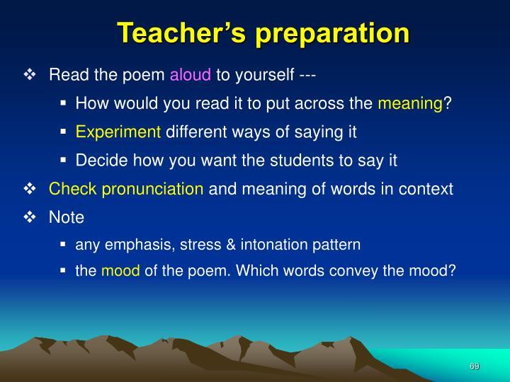 Teacher's preparation