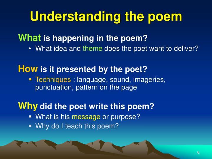 Understanding the poem