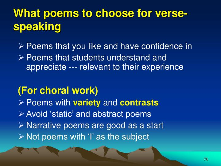 What poems to choose for verse-speaking