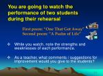 you are going to watch the performance of two students during their rehearsal