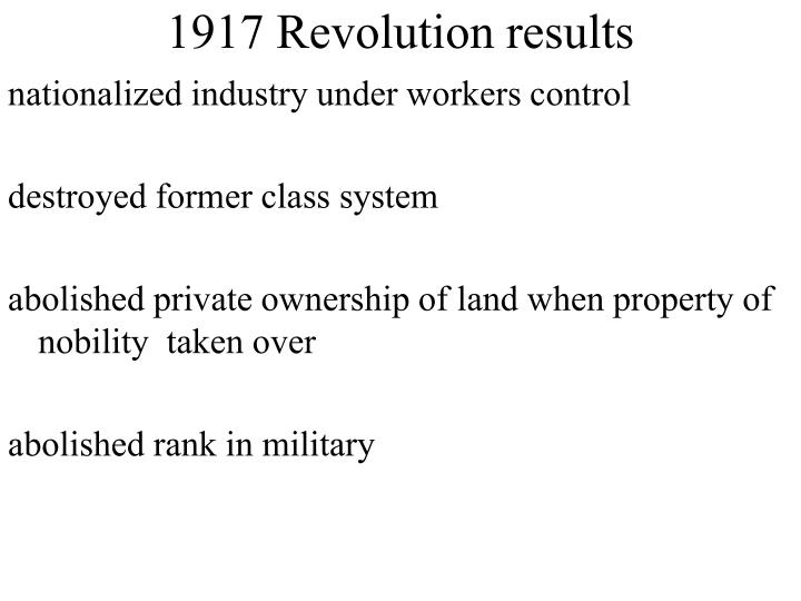 1917 Revolution results