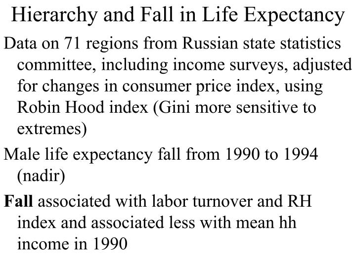 Hierarchy and Fall in Life Expectancy