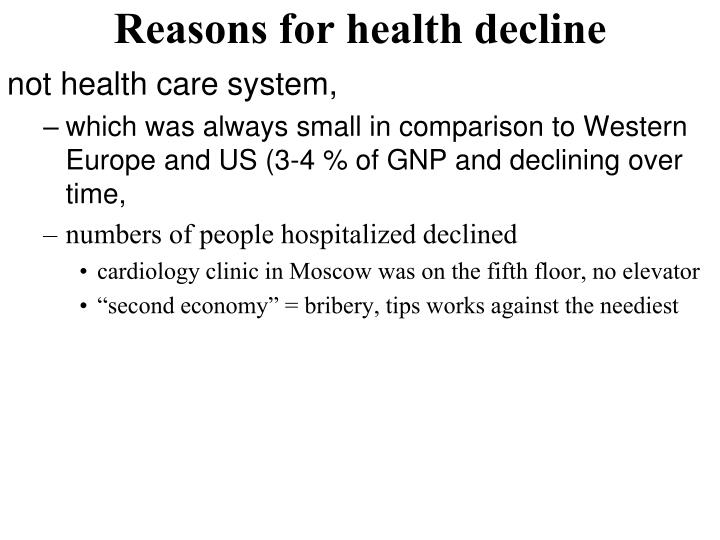 Reasons for health decline