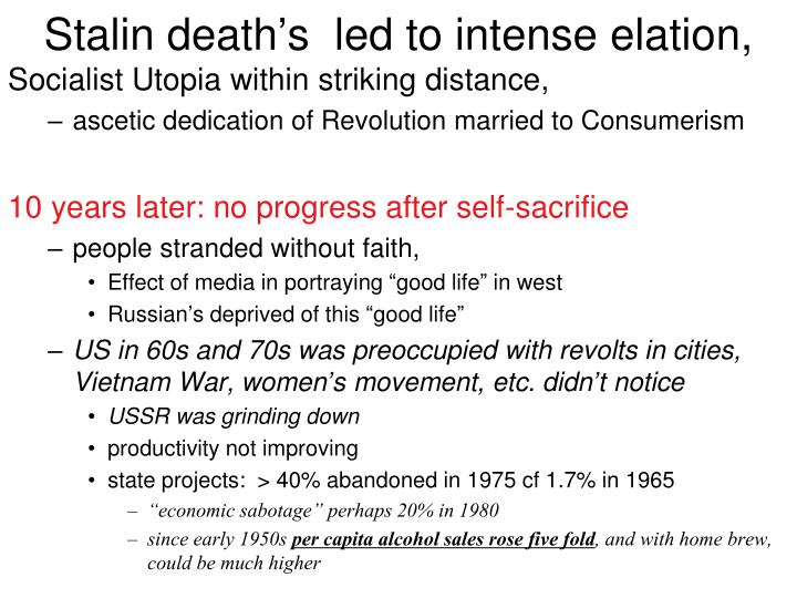 Stalin death's  led to intense elation,