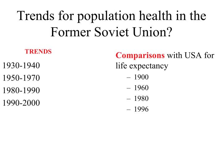 Trends for population health in the Former Soviet Union?