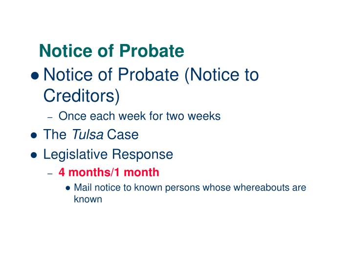 Notice of Probate