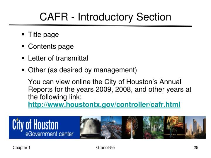 CAFR - Introductory Section