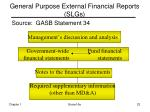 general purpose external financial reports slgs