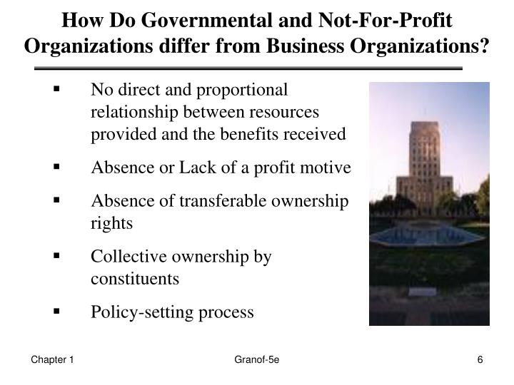 How Do Governmental and Not-For-Profit Organizations differ from Business Organizations?