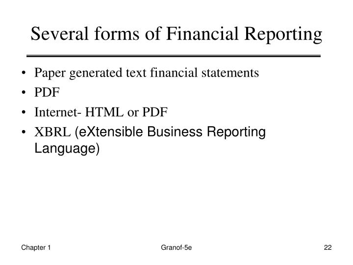 Several forms of Financial Reporting