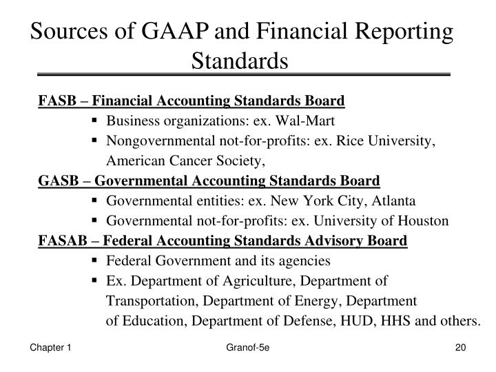 Sources of GAAP and Financial Reporting   Standards
