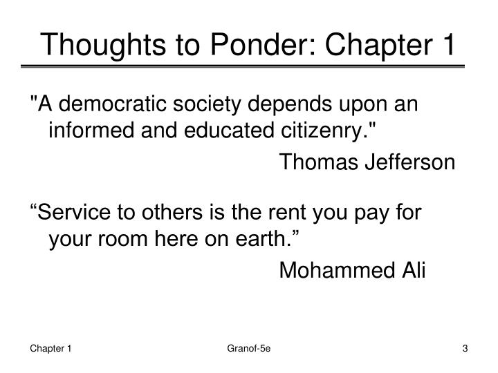 Thoughts to Ponder: Chapter 1