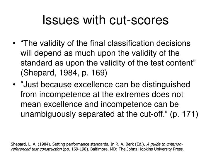Issues with cut-scores