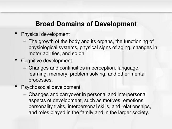 Broad Domains of Development